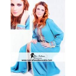 Caftan turquoise perlé