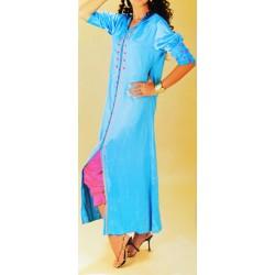 Gandoura simple en bleu avec manches courtes