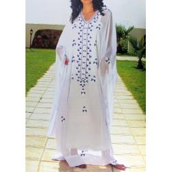 Gandoura marocaine simple en violet et argenté