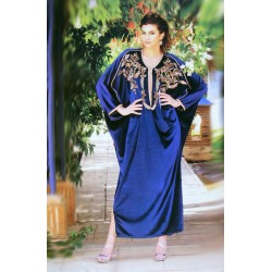 Takchita bleu roi brodé argenté