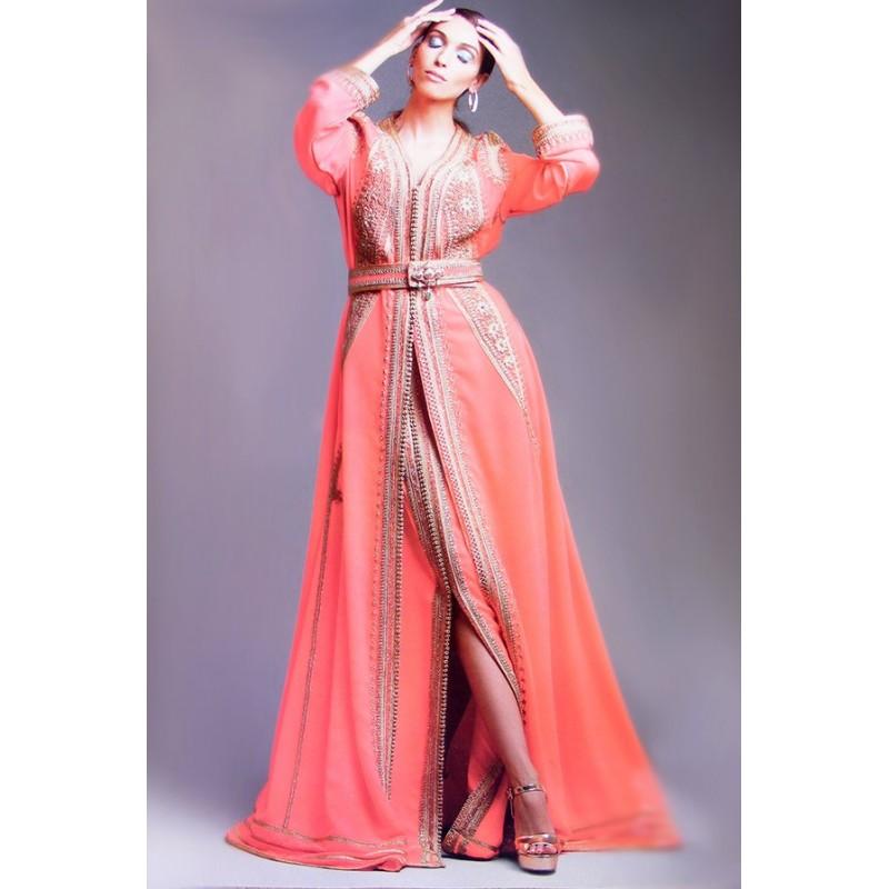 Caftan Rose pastel avec jupe