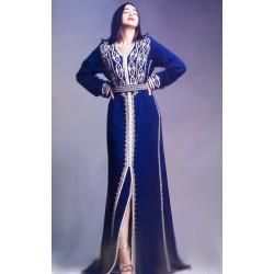 Caftan bleu roi argenté